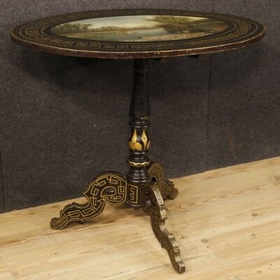 Small Table English Furniture Sailing Wooden Lacquered Painting Antique Style