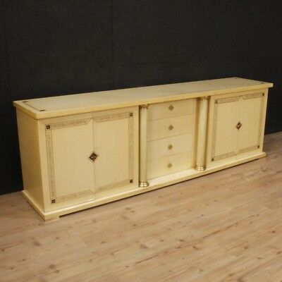 Cupboard Italian Furniture Wooden Brass Antique Style Living Room 4 Panels Chest