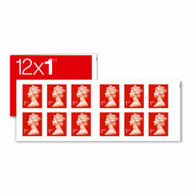 Royal Mail Book of 12 UK 1st Class Letter Postage Stamps