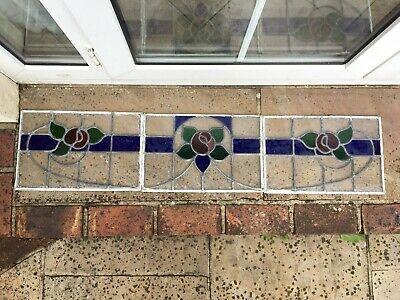 1930s STAINED GLASS LEADED WINDOWS set of 3. App 41 x 27cms.