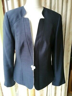 Jacques Vert Navy Jacket Wedding Christening Size 10