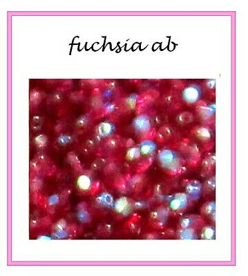 **22 PERLES CRISTAL BOHEME 4mm FACETTE col. FUCHSIA AB /ARGENT OR/ MURANO SPACER
