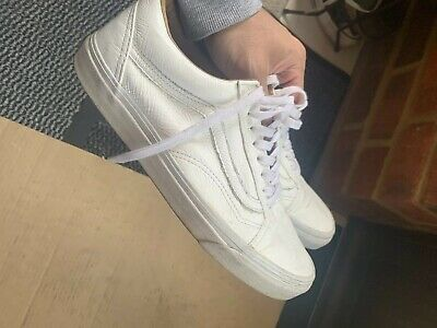 Unisex Vans White Leather Low Top Trainers UK Size 7 / EUR 41 Old Skl School