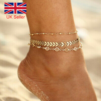 Boho Set of 3 Gold Tone Crystal Anklet Beach Ankle Foot Chain UK