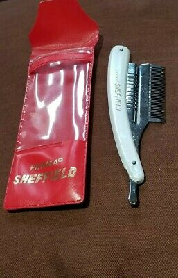 PERMA Sheffield Ivory Handled Shaving (?) Chome in Red Plastic Case - NOS