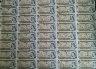 THE CANADA ONE DOLLAR 1973 BANK NOTE SHEET BC-46b / BFL # / UNC & UNCUT/0080157