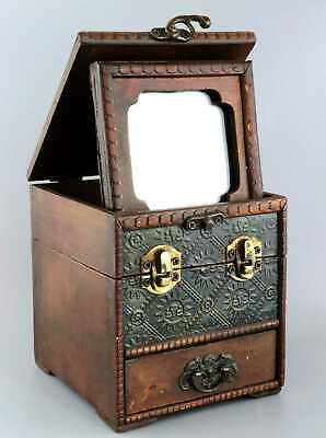 Collect China Antique Boxwood Hand Carve Delicate Noble Girl Mirror Jewel Box