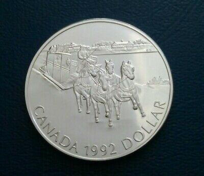 """The Canada Commemorative Bu Silver One Dollar Coin 1992 """"Kingston Stagecoach"""""""