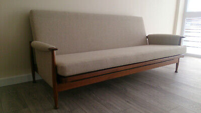 Stunning Vintage Guy Rogers Teak Sofa Bed Settee & 2 Reclining Chairs