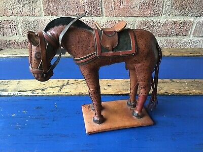 VINTAGE hand Stitched FOLK art LEATHER HORSE Toy NATIVE AMERICAN South American
