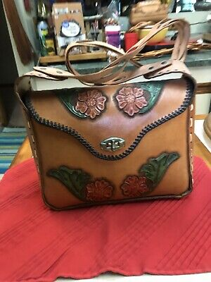 Vintage Handmade Hand Crafted Rolf Bjornson Leather Purse Red & Green