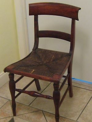 Vintage Antique 19th Cent  Rush Seat Wood Ladder Back Chair