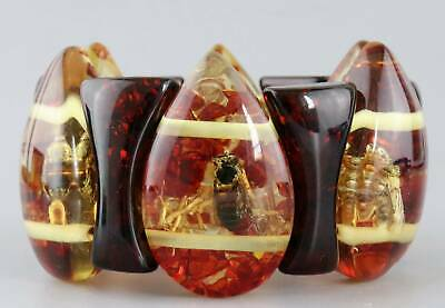 Collect China Decorate Amber Internal Inlay Bees & Petal Delicate Noble Bracelet