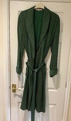 Mens Vintage Grenville Long Dressing gown Smoking jacket Green Geometric Size 38
