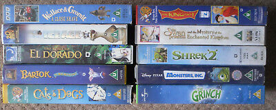 ANIMATED KIDS VIDEO COLLECTION - 10 VHS Bundle - Grinch/Cats/Shrek/Swan/Ice Age