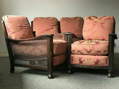 Original Art Deco Bergere Suite, Sofa & Chairs, Bun Feet Offered For Renovation