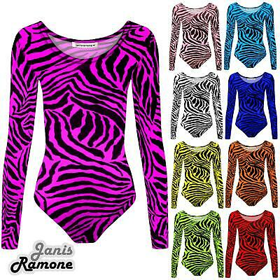 Girls Kids Zebra Print Long Sleeve Gymnastics Stretch Dance Leotard Bodysuit Top