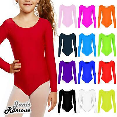 New Girls Kids Plain Long Sleeve Microfibre Stretch Dance Leotard Bodysuit Top