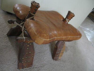 Egyptian Camel Saddle Leather Stool Vintage brown Studded brass Caps LOWERED