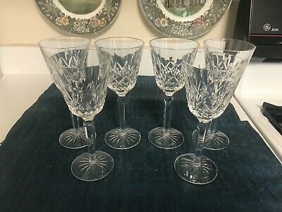 "SET of 6 RARE Waterford 7 3/8"" LISMORE CUT CRYSTAL TALL WINE GLASSES Stems MINT!"