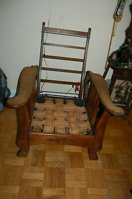 Antique Vintage Early 1900's  Oak Morris Hinged Chair