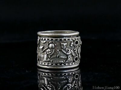 Collect GuangXu First Year Tibet Silver Carve Ancient Figure Precious Decor Ring