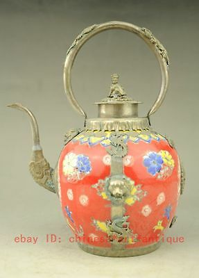 Chinese old  Handmade copper  Silver & Porcelain Inlaid Teapot Red