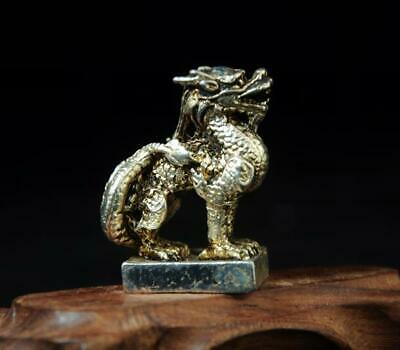 chinese handmade cooper-plating silver kylin statue seal