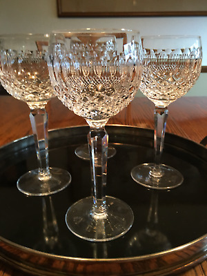 """Set of 4 Waterford Crystal , Colleen  Hock Wine Glasses , 7.5"""" tall.  Excellent"""