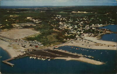 Cape Cod,MA Air View of Wellfleet Harbor Massachusetts Chrome Postcard Vintage