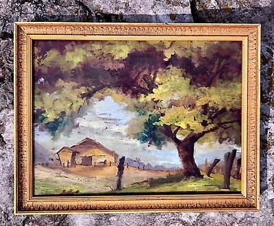 Nice Framed 1940S Regionalist Vintage Oil Painting Farm House / Barn In Pasture