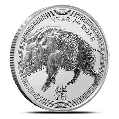 Lot of 5 - 2019 1 oz Fine Silver Coin Year of the Boar - Pig - In Capsule - 5 oz