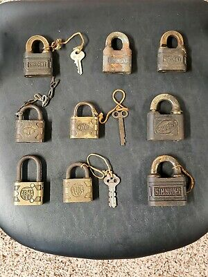 Lot Of 9 Antique Vintage Padlocks