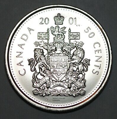 Canada 2001 P 50 cents Nice UNC from roll - BU Canadian Half Dollar