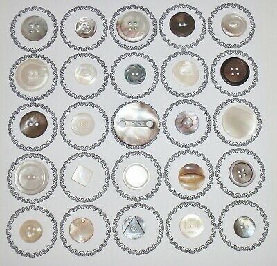 25 Lot Antique Vintage Carved Smooth Abalone Mother Of Pearl MOP Buttons Smokey