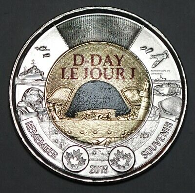 Canada 2019 2 Dollar D-Day Coloured BU Canadian Toonie Uncirculated Coin