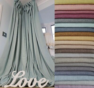 "Quality New Bespoke  52"" Width 93"" Long Duck Egg Linen Cotton Lined Curtains"