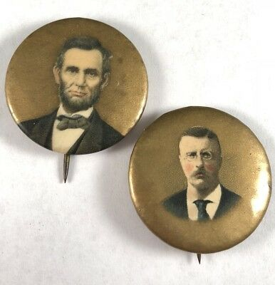 "Rare Lot Of 2 1904 1.25"" Theodore Roosevelt Abraham Lincoln Political Pins Minty"