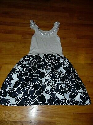 Mossimo Tank Style Knit Dress Sz M Black & White Floral Lace ruffle EXC