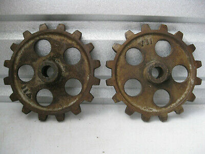 Lot of 2 Matching Antique Cast Iron Gears
