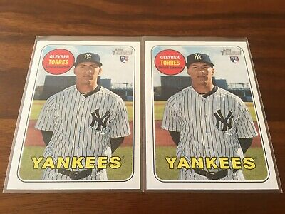 (2) Gleyber Torres 2018 Topps Heritage---Rookie Card RC Lot--New York NY Yankees