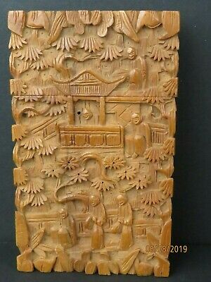 Antique Chinese QING DYNASTY Carved WOOD Wooden Card Case
