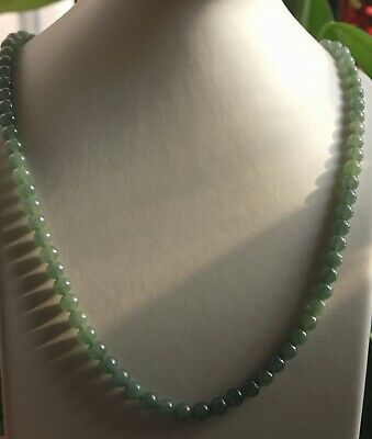 Gemstone Certified Grade A Natural JADE Gorgeous Icy Green Jadeite Necklace N284
