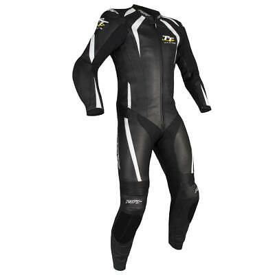 RST IOM TT Grandstand CE Motorbike One Piece Leather Suit Black / White