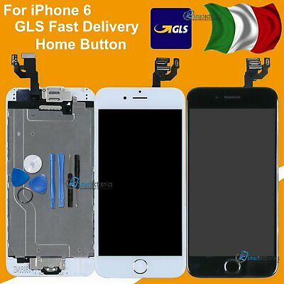 Display Schermo Per Iphone 6  6G Touch Screen Lcd Nero Bianco Home Button Frame