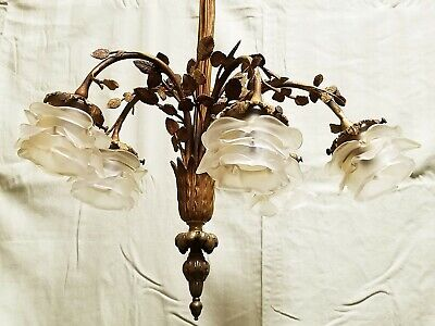 Antique French Frosted Glass Rose Bronze Leaves 5 Light Fixture Chandelier