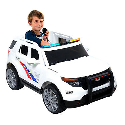 0610b248d8c6 12V Kids Ride on Cars Electric Double-Drive Police Car W/ Music Playback  White