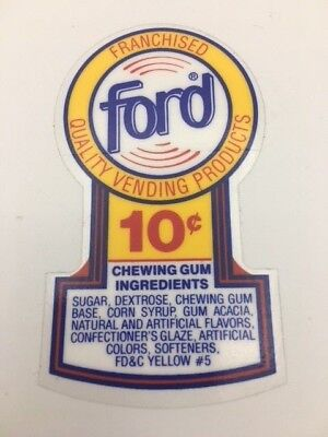 1 Original Ford 10 Cent .10 PRICE DECAL STICKER Gumball Vending Machine