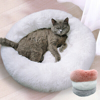 Round Dog Cat Calming Bed Soft Plush Warm Nest Pet Cute Sleeping Kennel Cushion