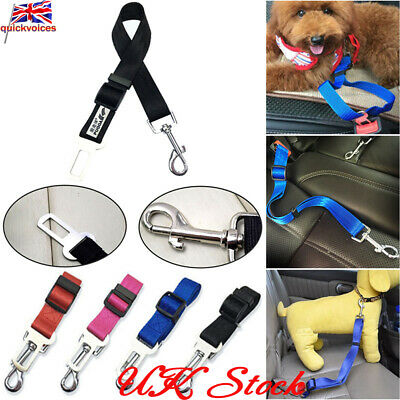 UK Dog Pet Adjustable Car Safety Seat Belt Harness Travel Lead Restraint Strap